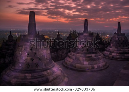 Sunrise at Borobudur temple, Java, Indonesia