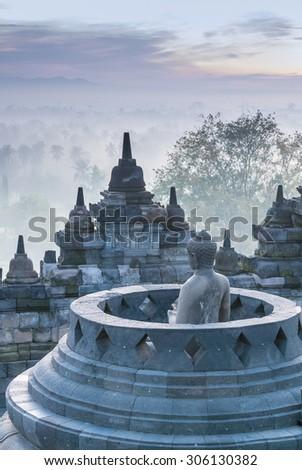 Sunrise at Borobudur Temple, Yogyakarta, Java, Indonesia. - stock photo