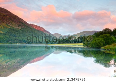 Sunrise at Buttermere in the English Lake District - stock photo
