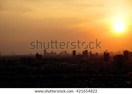 Sunrise at city of Bangkok, Thailand