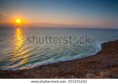 Sunrise at Dead Sea, Israel.  - stock photo