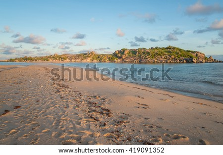 Sunrise at East Woody island the famous beach of Nhulunbuy town of Gove Peninsula, Northern Territory, Australia.