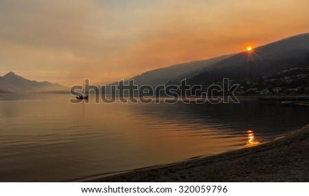 sunrise at Frankton beach, New Zealand - stock photo