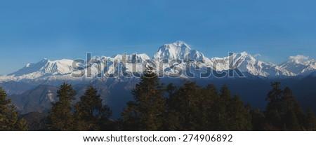 Sunrise at Himalayas. Nepal - stock photo