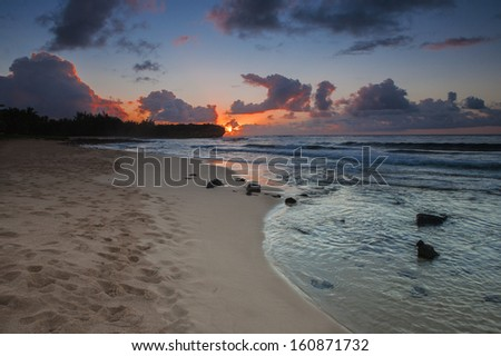 Sunrise at Kauai - stock photo