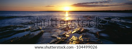 Sunrise at Lake Superior, Porcupine Mountain State Park, Upper Peninsula, Michigan - stock photo
