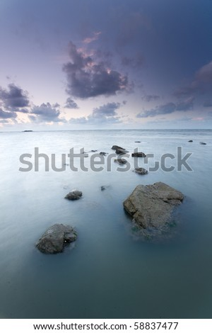 sunrise at lalang beach belitung - stock photo
