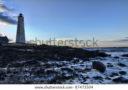 Sunrise at Lighthouse Point, New Haven, Connecticut - stock photo