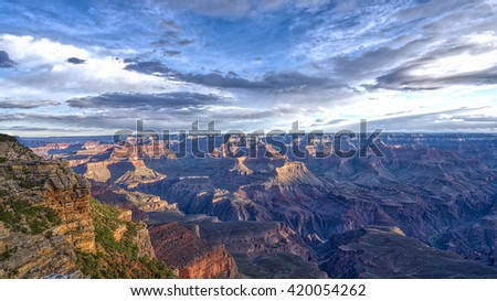 Sunrise at Mather Point in Grand Canyon National Park. - stock photo