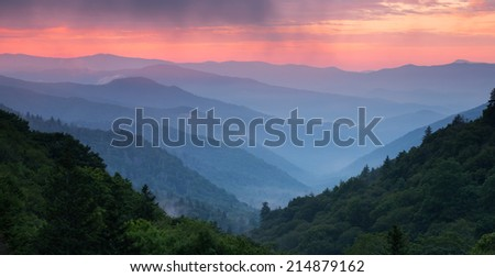 Sunrise at Mills Overlook Great Smoky Mountain National Park  - stock photo