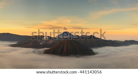 Sunrise at Mount Bromo volcano, the magnificent view of Mt. Bromo located in Bromo Tengger Semeru National Park, East Java, Indonesia - stock photo