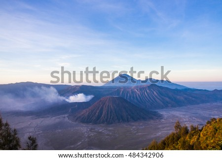 Sunrise at Mount Bromo volcano, the magnificent view of Mt. Bromo located in Bromo Tengger Semeru National Park, East Java, Indonesia.