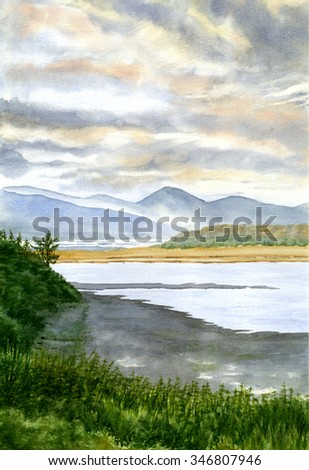 Sunrise at Netarts Bay.  Watercolor landscape painting hand painted art of sunrise, clouds and fog in the background a bay, sandy beach and shrubs