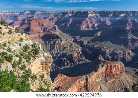 Sunrise at Pima Point of Grand Canyon, South Rim, Arizona, USA - stock photo