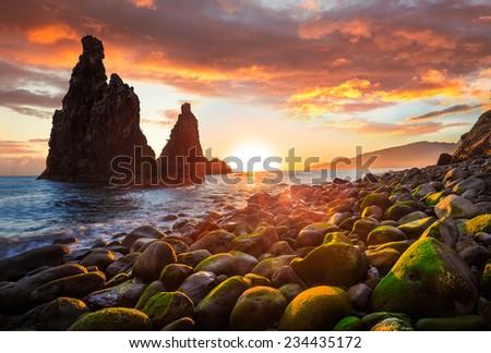 Sunrise at Ribeira da Janela, near Porto Moniz, Madeira - stock photo