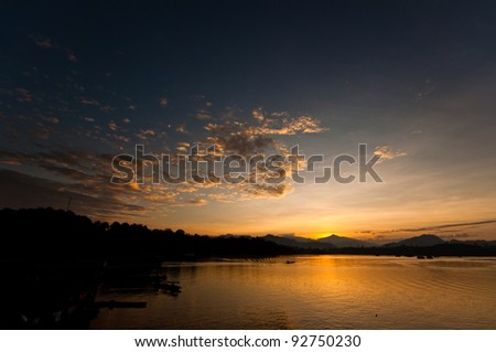 Sunrise at riveside for good background - stock photo