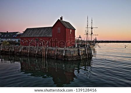 Sunrise at Rockport MA - stock photo