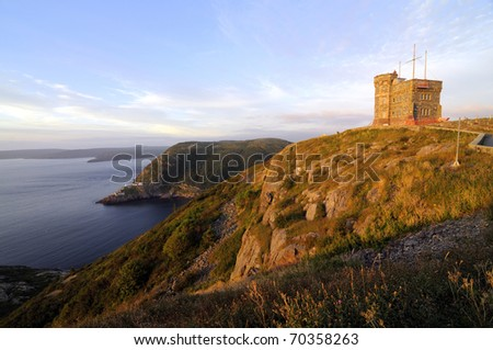 Sunrise At Signal Hill St John's Newfoundland - stock photo