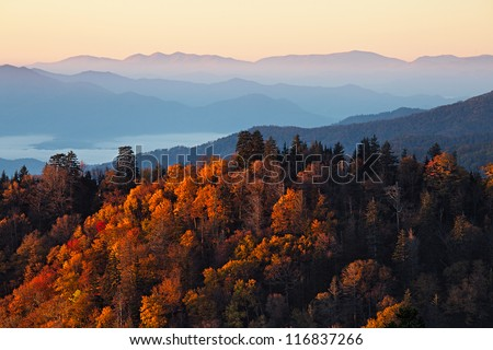Sunrise at Smoky Mountains. Great Smoky Mountains National Park, USA - stock photo