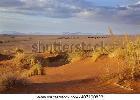 Sunrise at Sossusvlei, Namibia, Africa - stock photo