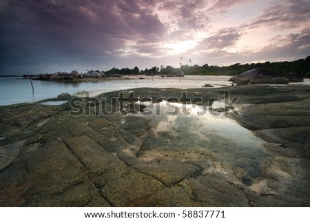 sunrise at tanjung tinggi belitung - stock photo