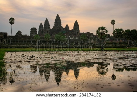 Sunrise at the Angkor Wat temple in Cambodia - stock photo