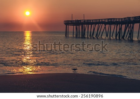 Sunrise at the Avon Fishing Pier Hatteras Island, NC - stock photo