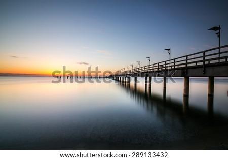Sunrise at the beach, Machalinki Poland Hdr photo, sunrise lands - stock photo