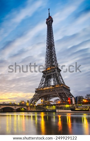 Sunrise at the Eiffel tower, Paris - stock photo
