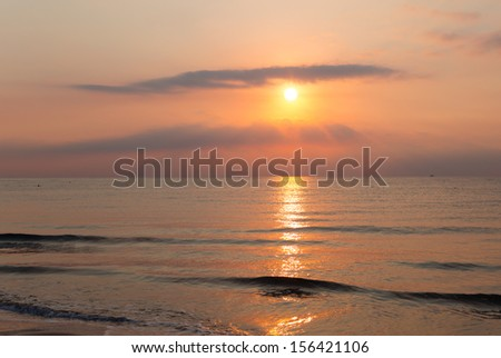 Sunrise at the famous mediterranean beach in Mersin , Turkey - stock photo