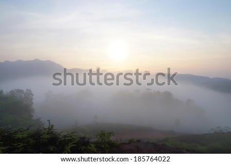 Sunrise at the fog mountains in the summer. - stock photo