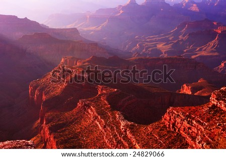 Sunrise at the Grand Canyon - South Rim - stock photo