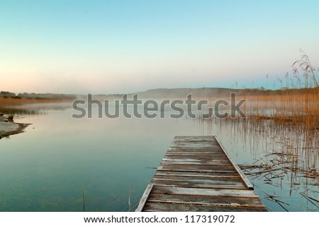 Sunrise  at the lake in Ireland - stock photo