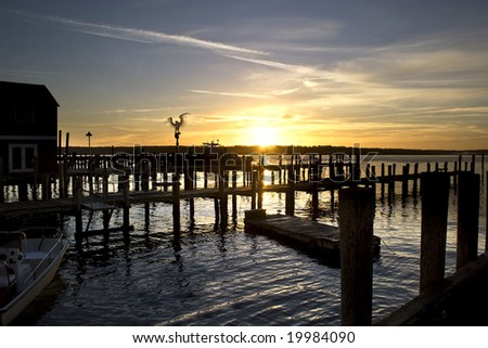 Sunrise at the Mitchell marina of Greenport Village, Long Island, New York