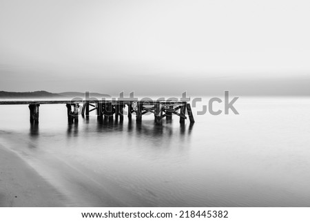 Sunrise at the pier in Sopot, Poland, Black and White, B&W - stock photo