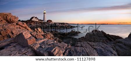 Sunrise At The Portland Head Light, Portland, Maine - stock photo