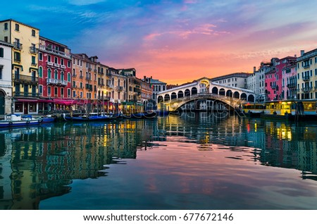 Sunrise at the Rialto Bridge, Venice, Italy