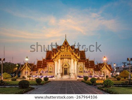 Sunrise at the Wat Benchamabophit , Thailand (the Marble Temple) - stock photo