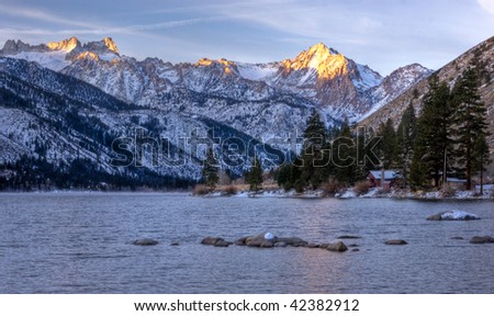 Sunrise at Twin Lakes - stock photo