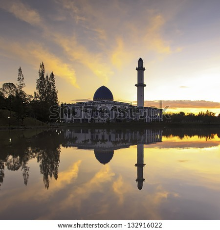 Sunrise at UNITEN Mosque, Bangi, Selangor - stock photo