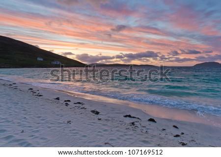 Sunrise at Vatersay Beach - stock photo