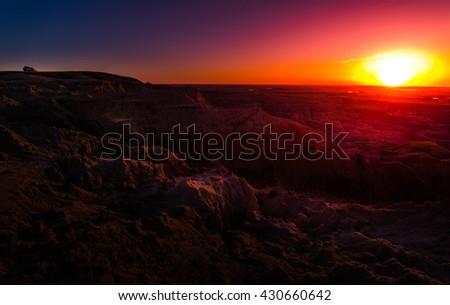 Sunrise Badlands National Park South Dakota USA landscapes - stock photo