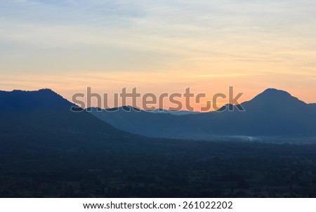 sunrise behind mountains