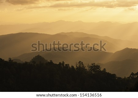 Sunrise Blue Ridge Mountains Scenic Overlook Nantahala Forest Highlands NC in southern Appalachians Spring - stock photo