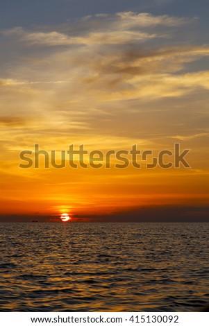 sunrise boat  and sea in thailand kho tao bay coastline south china sea - stock photo