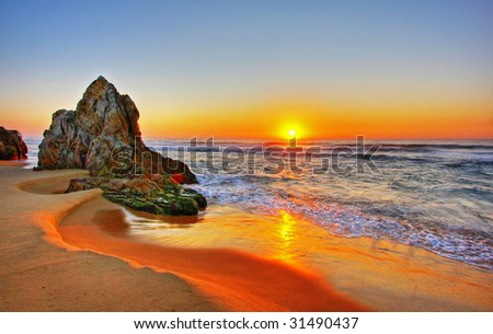 Sunrise by the beach in Tathra, NSW - stock photo