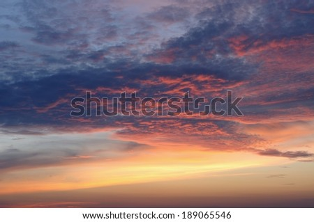 Sunrise cloud with warm color - stock photo