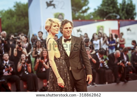 Sunrise Coigney and actor Mark Ruffalo  attend the premiere of 'Spotlight' during the 72nd Venice Film Festival on September 3, 2015 in Venice, Italy. - stock photo