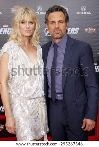 Sunrise Coigney and Mark Ruffalo at the Los Angeles premiere of 'Marvel's The Avengers' held at the El Capitan Theatre in Los Angeles on April 11, 2012.