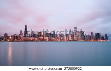 Sunrise Color Sky Lake Michigan Chicago Illinois City Skyline - stock photo